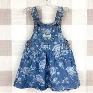 Osh Kosh Chambray Denim Overall Jumper Dress 9 mos
